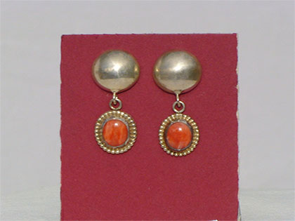 Two tiered sterling silver post earrings first tier sterling silver domed second tier 8mm oval orange oyster shell