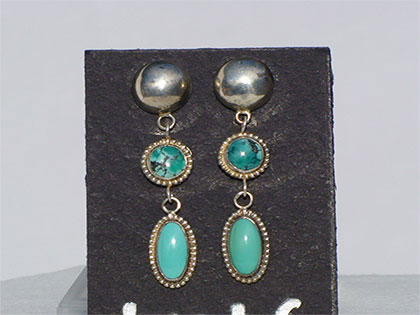 3 tier turquoise earrings top round sterling hollow dome with sterling post second tier 8mm oval green matrix turquoise third tier 8mm round green matrix turquoise