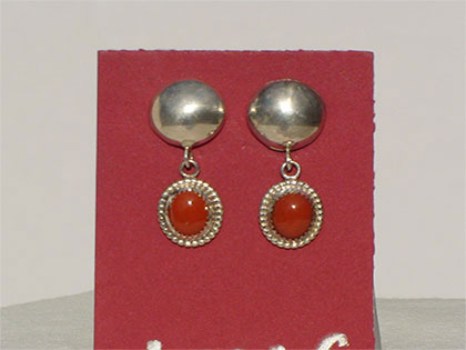 Two tiered sterling silver post earrings first tier sterling silver domed second tier 8mm oval red jasper stone