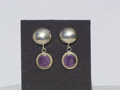 Two tiered sterling silver post earrings first tier sterling silver domed second tier 8mm oval purple wampum shell