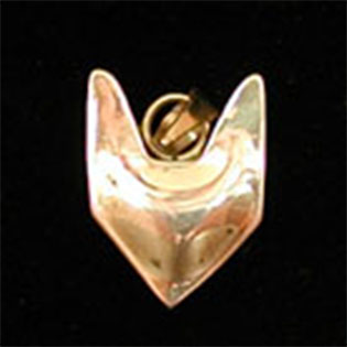 Wolf Waker Logo pendant that is puffed, bulging, no eyes of sterling silver with smooth sides