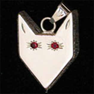 Wolf Waker Logo pendant with faceted red stone eyes set into sterling silver with texture sides that resembles fur
